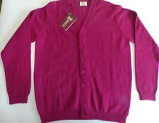 "William Lockie V neck 4 ply new Lambswool button Cardigan top 40"" Wine red"