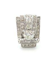 Antique Platinum Round Center Diamond Rectangle Engagement Ring 2.87Ct