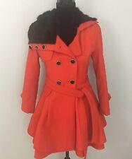 Xian Xian Fashion Juniors Red Peacoat Black Fur Ruffle Skirt Coat - XS/Small