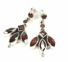 GARNET 925 STERLING SILVER EARRINGS STAMPED MARQUISE PRINCESS ROUND CUT 4 g