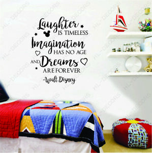 Laughter timeless Imagination Disney Quote Wall Stickers Kids Room Decor Decals