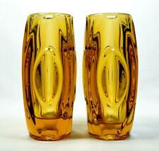 More details for vintage czech glass sklo union lens vase pair by rudolf schrotter 1960s/70s