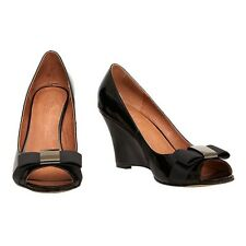 David Lawrence Black Peep Toe Wedge Heels size 36 (5) NWT
