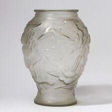 Bohemian/czech Birds In Flight Search For Flights Art Deco Czechoslovakian Frosted Glass Vase