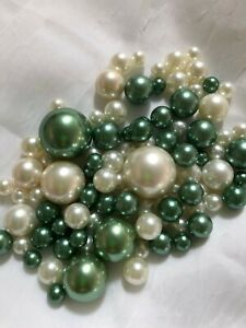 Sage Green/Ivory Vase Filler Pearls 80pc Floating Pearl Decor, Table Scatter