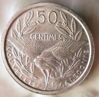 1949 NEW CALEDONIA 50 CENTIMES - AU/UNC - Exotic Coin - Free Ship - BIN #FFF