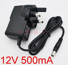 New AC Converter Adapter DC 12V 500mA Power Supply 0.5A UK plug DC 5.5mm x 2.1mm