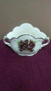 Ceramic Flower Pot Heavy Decor Planter with Gold Rim, Red Flower & Leaves & Bow