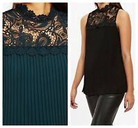 ex Wallis High Neck Lace Yoke Pleated Evening Party Top