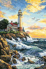 Cross Stitch Kit ~ Gold Collection Rocky Point Ocean Waves & Lighthouse #3895