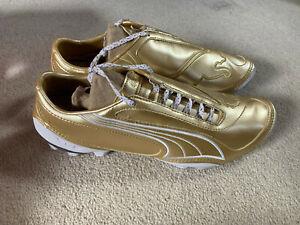 Puma V 1.08 men's astro football boots in gold/white - size 9 - new - rare