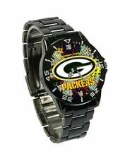 NFL SPORTS WATCH (GREEN BAY PACKERS) NEW QUARTZ  CASUAL BLACK STAINLESS STEEL