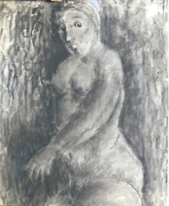 Christos Baziotes (1912-1973) Nude Drawing a Woman Turned to the Left