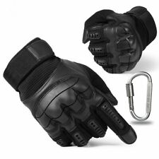 Black Motorcycle Gloves PU Leather Hard Knuckle Motorbike ATV Protective Gear