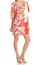 NWT Donna Morgan Coral Floral and Color Block V Neck Shift Dress Size 4