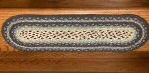 Braided Oval Blueberry and Cream Stair Tread by Earth Rugs