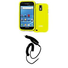 Yellow Hard Case Cover+Smart Chip Car Charger for T-Mobile Samsung Galaxy S II