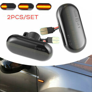 For Renault CLIO Dynamic Smoked Flowing LED Side Marker Signal Light Indicator