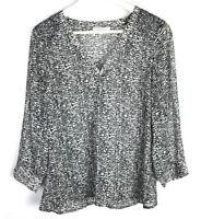 41 Hawthorn Women's Size Medium Long Sleeve Blouse V-Neck Tunic FLAWED