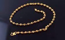 Women Anklet Shinny Lenght 10.2 Inch 22k 22ct Solid Gold Elegant Small Ball