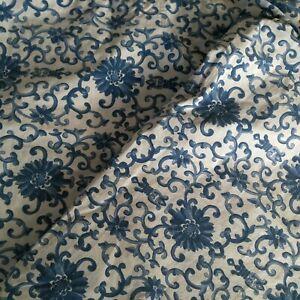 Vtg Ralph Lauren Flat Sheet Tamarind Porcelain Blue Floral Twin Bedding Fabric