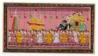 Mughal Miniature Painting On Old Paper of Royal Procession Wall Decor Art