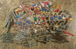 Vintage Lego Castle Knights Figures Flags Weapons Lot