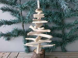 Driftwood Christmas Tree natural branches 12 inches high with round log base