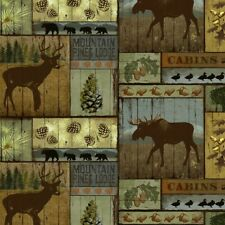 Mountain Pines Lodge Multi David Textile 100% Cotton Fabric by the yard