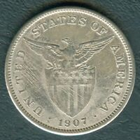 1907-S US Philippines 1 Peso United States of America Silver Coin - Stock #F20