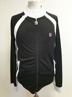E264 MENS FILA BLACK WHITE FULL ZIP TRACKSUIT JACKET UK S EU 46