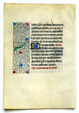 MEDIEVAL ILLUMINATED MANUSCRIPT BOOK OF HOURS LEAF 1450 GOLD INITIALS