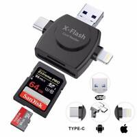 4 in 1 Lightning Micro USB Type C Adapter TF Card Reader for iPhone/IOS/Android