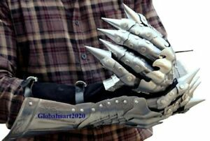 Medieval Gauntlet Gloves Pair Brass Accents Knight Crusader Armor Steel Gift