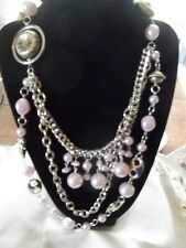 Paparazzi Pink Ribbon Necklace with Trimmings and Rose Ring w/Stones