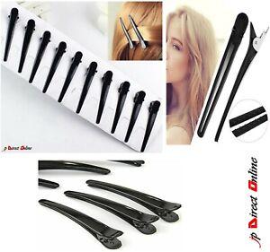 10 Pcs Black Metal Hairdresser Sectioning Hair Clip Grips Salon Style Alligator