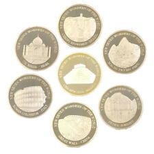 24k Gold Plated Metal Coin New Seven Wonders of Wolrd Challenge Gold Coins 7pcs