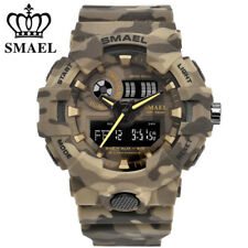 Men Camo Military Sport Watches LED Digital Dual Time Waterproof Wristwatch Army