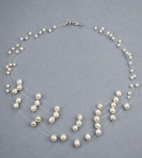 5-Strand Illusion White Fresh Water Pearl Necklace NKL040056