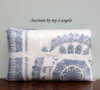 NEW Pottery Barn KAYTA BLOCK PRINT F/Q Full/Queen Quilt COOL / BLUE *boho