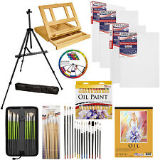 70 pc Deluxe Oil Painting Set Wood & Field Easel 24 Colors Brushes Canvases