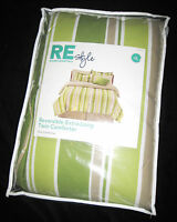 TWIN XL - RE Room Essentials - Green, Khaki & White Stripe Reversible COMFORTER