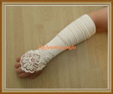Satin IVORY FINGERLESS BRIDAL WEDDING PROM THEATRE GLOVE,Lace pearls sequin