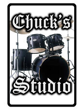 Personalized STUDIO Sign Printed with YOUR NAME.Custom High Gloss Signs Drums wt
