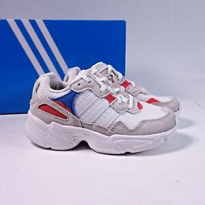 Size 13.5 Little Kid's adidas Originals Yung-96 Sneakers F35276 Beige/Blue/Red
