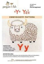 Y is for Yak embroidery pattern by Penguin Fish FREE SHIPPING