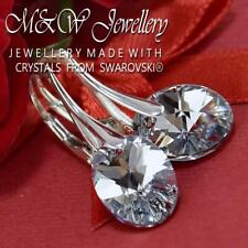 925 Sterling Silver Earrings OVAL Crystal Cal 12mm Crystals From Swarovski®