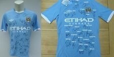 2010-11 Man City Home Shirt Signed by FA Cup Winning Squad Complete Map (10501)