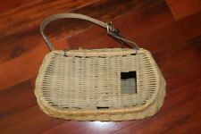Vintage Wicker Fishing Basket Creel With Leather Strap