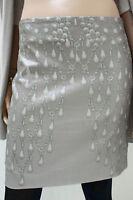 MARCCAIN Damen Rock N3 38 M Baumwollmischung Taupe mit Silberschimmer